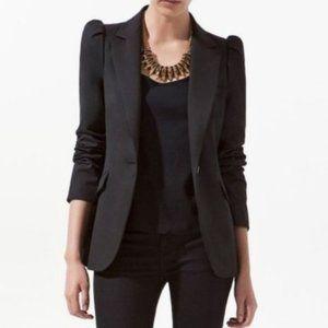 Zara Black Puff Sleeve Blazer Fitted Single Button